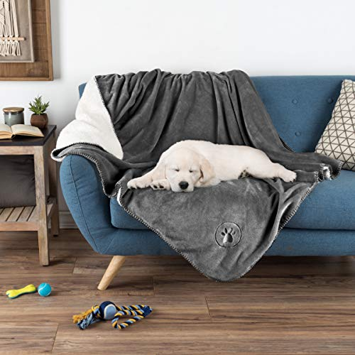 (PETMAKER Waterproof Pet Blanket - 60inX50in Soft Plush Throw Protects Couch, Chair, Car, Bed from Spills, Stains Or Fur-Machine Washable (Gray))