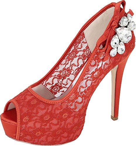 19E Zapatillas Diamantes Vimedea Mujer 3128 con Abierta para Rojo Imitación Puntera de Plataforma con de 5EPZAwqgZ