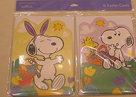 Hallmark Peanuts Snoopy Woodstock Pacchetto 6 Pasqua Cards Plus