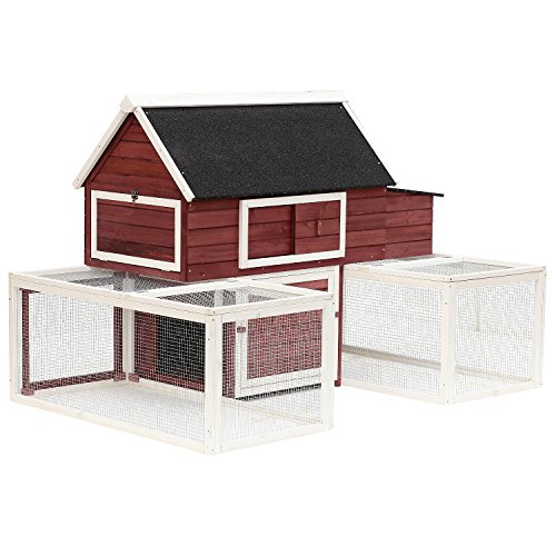 PawHut Modular Wooden Backyard Chicken Coop with Nesting Box and Customizable Outdoor (Chicken House)