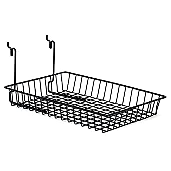KC Store Fixtures A03011 Basket Fits Slatwall Pack of 6 Grid Pegboard Black 10 W x 14 D x 2 H