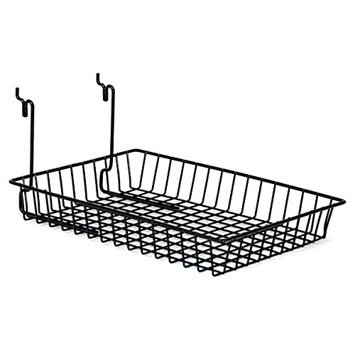 KC Store Fixtures A03011 Basket Fits Slatwall, Grid, Pegboard, 10'' W x 14'' D x 2'' H, Black (Pack of 6)