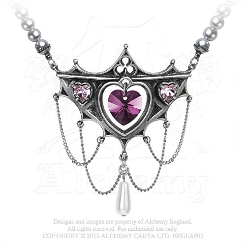 Century Castle (Elizabethan Court 16th Century Kenilworth Castle Swarovski Crystal Heart Necklace with Pearl Drop by Alchemy)