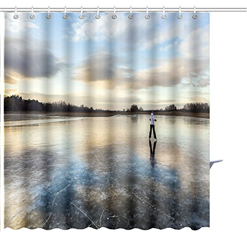 MuaToo Shower Curtain Girl on The Lake ice Skate Merrily Graphic Print Polyester Fabric Bathroom Decor Sets with Hooks 72 x 84 ()