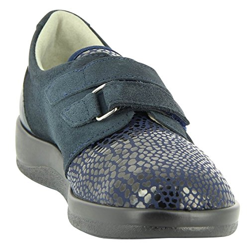 Varomed 61.251 Dames Therapeutische Schoen, Gezondheid Schoen, Velcro Handschoen, Schoen, Pantoffel, Muilezel, Zijn Eigen Depositos, Velcro, Begeleiden Oogje, Lengte F Voor Smalle Voeten Marine