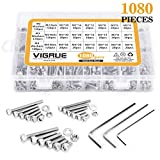 VIGRUE M2 M3 M4 1080PCS Stainless Steel Screws and Nuts, 1080 Pcs Hex Socket Head Cap, Silver
