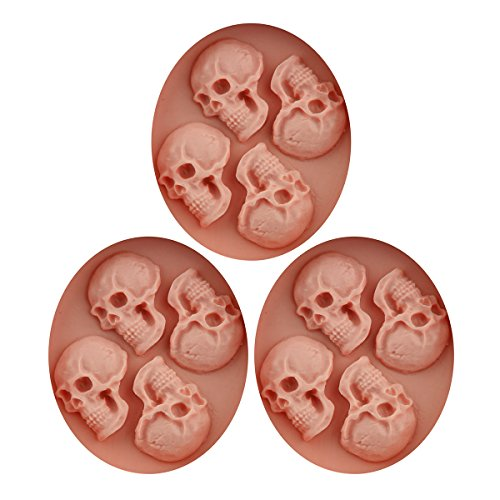 Baidecor Halloween Skulls Silicone Chocolate Molds Candy Mold Set Of 3 -