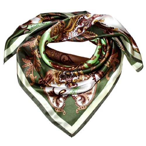 LORENZO CANA Italian Scarf 100% Silk 35 x 35 Green Brown Beige Paisley 89025 - Scarf Brocade Silk