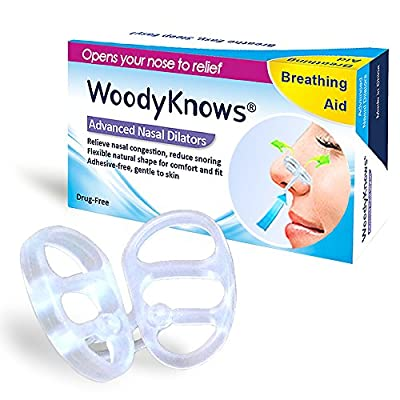 Snoring & Breathing Aid - INVISIBLE NASAL STRIPS from WoodyKnows? - Advanced Nasal Dilators / Snore Stoppers / Nose Vents - Effective, Comfortable, and Durable Anti Snore Solution - Breathe and Sleep Right