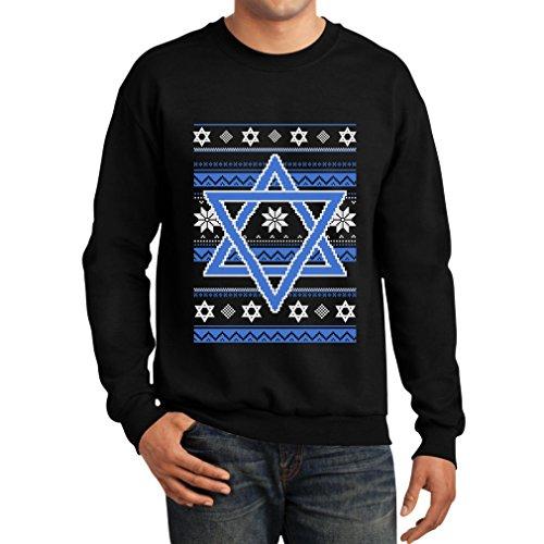 TeeStars Happy Hanukkah Ugly Holiday Sweater Star Of David Sweatshirt XX-Large Black Jew Christmas Sweater