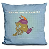 LiLiPi Upside Down North America Decorative Accent Throw Pillow