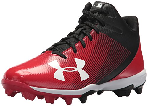 Under Armour Men's Leadoff Mid RM Baseball Shoe, Black/red, 11.5 M US
