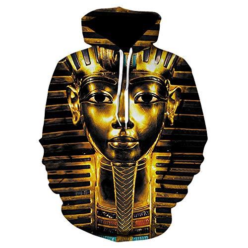 Jonyn Unisex 3D Print Sweaters Pullover Sweatshirt Long Sleeve Hoodie for Men Women Pharaoh ()