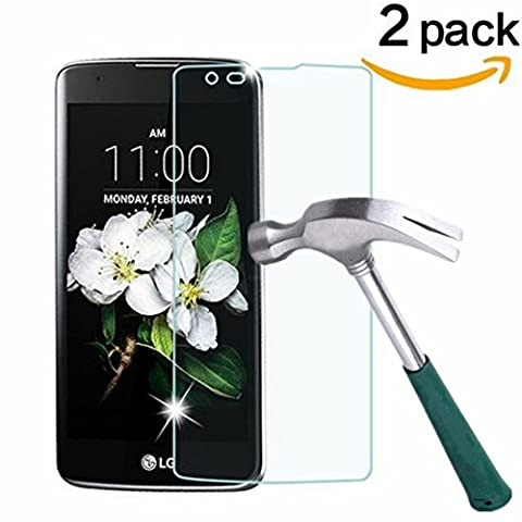 [2 Pack] LG K7 Screen Protector, NOKEA [Tempered Glass] with [9H Hardness] [Crystal Clear] [Easy Bubble-Free Installation] [Scratch Resist] (for LG (Pink Camo Otterbox Iphone 4s Case)