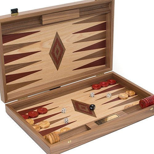 Bello Games New York, Inc. Aphrodite Deluxe Walnut & Oak Backgammon Set from Greece. Large Size 18 1/2