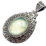 "Prehnite 925 Sterling Silver Pendant 2"" - Handmade Jewelry PD602250"