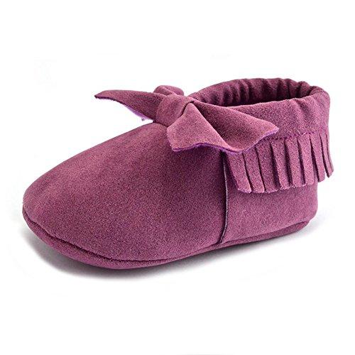 Vlunt Babyschuhe Baby-Krippe Quasten Schuhe Casual Bowknot Schuhe Lauflernschuhe 0-18 Monate L Lila