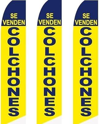 Amazon.com : 3 (three) Pack Tall Swooper Flags Se Venden Colchones (mattress sale) Blue Yellow : Garden & Outdoor