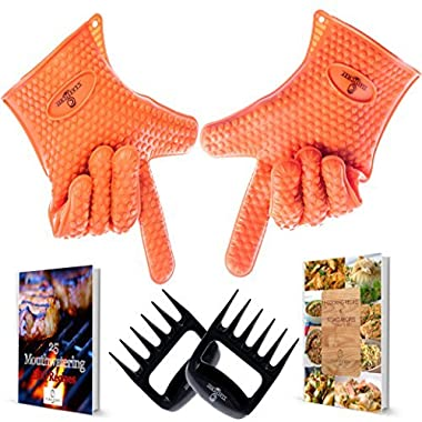 Barbecue Gloves & Pulled Pork Claws Set Grilling Protection Accessories & Home Kitchen Tools , Oven Mitts Silicone Gloves Rubber Food Safe For BBQ Grill Tow E-Books & Meat Claws By CLASSICHEF