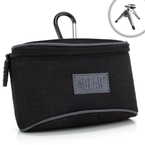 Digital Camera Compact Bag with Durable Nylon Exterior , Carabiner Carrying Clip & Accessory Pocket by USA GEAR - Works With Nikon DL24-85 , Coolpix A900 , A10 and More Digital Cameras!