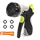CXRCY Garden Hose Nozzle Spray Nozzle,10 Watering Patterns Metal Heave Duty Water Nozzle,High Pressure Nozzle Sprayer For Watering Plants, Cleaning, Car Wash and Showering Dog & Pets