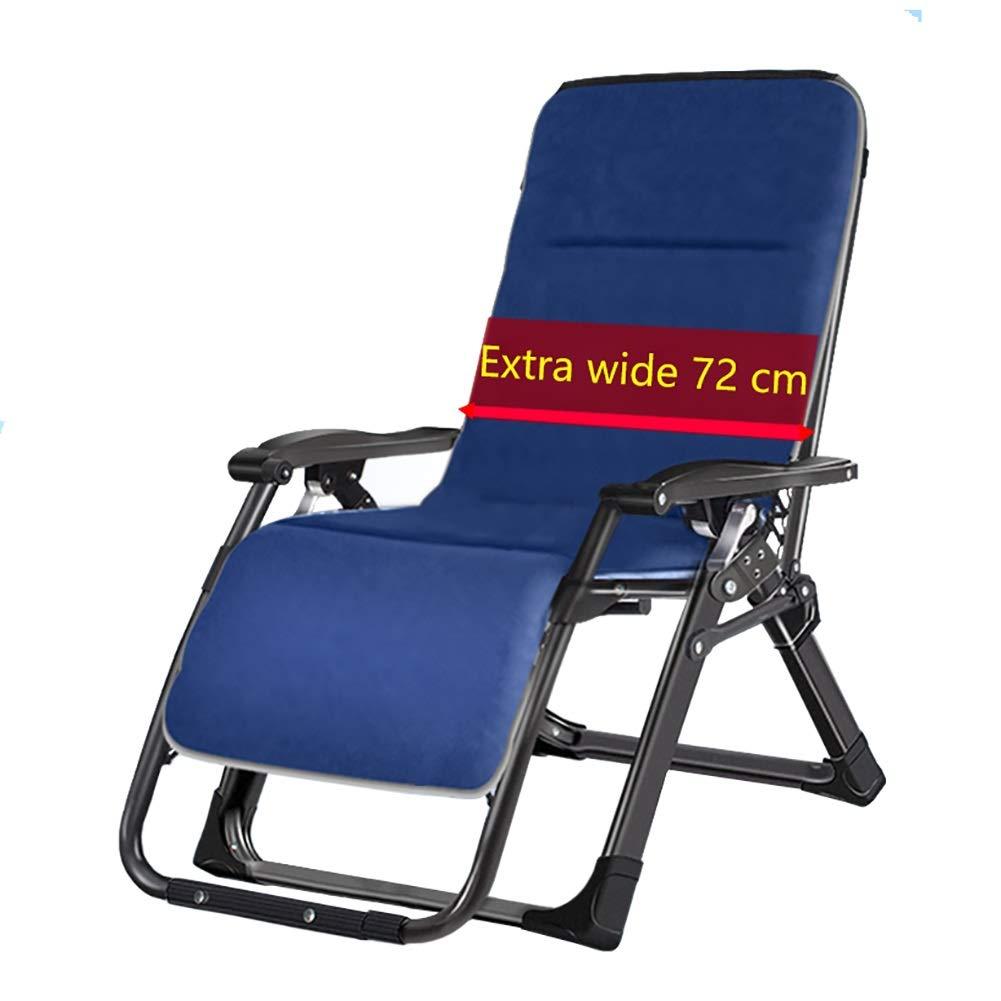 ラウンジチェア 特大折りたたみ式ビーチリクライニングチェア、妊娠中の女性/オフィスワーカー/高齢者のために折り畳み式の青い特大ゼロ重力パッド入りの長椅子 B07SKYPLNJ