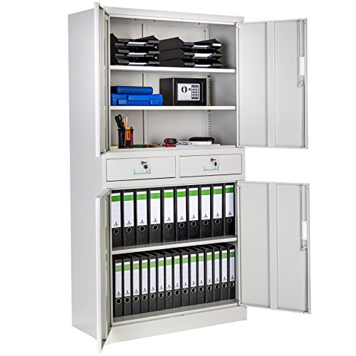 online store 01e05 88d0c TecTake Office Storage Cupboard Metal Grey | 2 Drawers 4-Door and Lock  System 180x90x40cm | Filing Cabinet