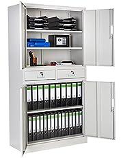 TecTake Armario archivador de Oficina metálico con 4 Puertas e 2 cajones bloqueable 180x90x40cm