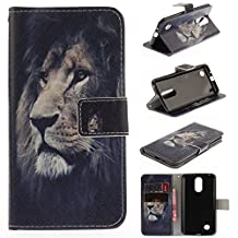 LG Aristo MS210 Case,LG K8 2017 Case,LG LV3 Case,I-VIKKLY [Kickstand Feature] Magnetic Snap Premium PU Leather Wallet with Built-in Card Slot Folio Flip Cover Case for LG LV3 (Lion)