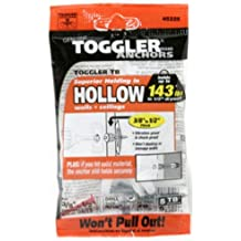 "TOGGLER Toggle TB Residential Drywall Anchor with Screws, Polypropylene, Made in US, 3/8"" to 1/2"" Grip Range, For #6 to #14 Fastener Sizes (Pack of 5)"