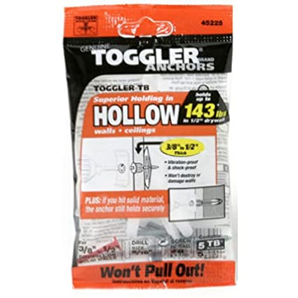 Pack of 5 For #6 to #14 Fastener Sizes Made in US Polypropylene TOGGLER Toggle TB Residential Drywall Anchor with Screws 3//8 to 1//2 Grip Range
