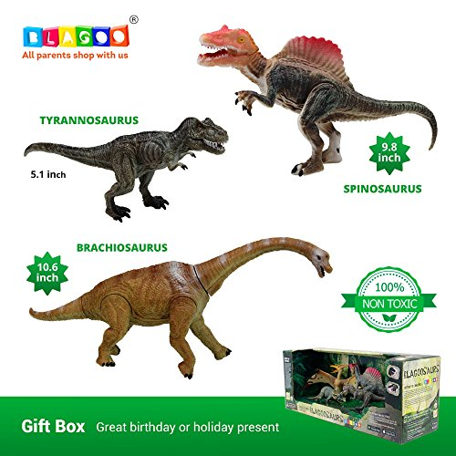 BLAGOO Dinosaur Toys with Moving Parts 3 Figures up to 9.4 inches Set #9 Including Free Augmented Reality Educational Mobile App and 4D Cards ()