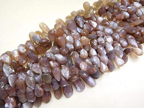 GemAbyss Beads Gemstone 120 Cts 40 Beads Chocolate Moonstone Side Drill Faceted Pear Beads 8 Inch Long Strand Code-MVG-10999