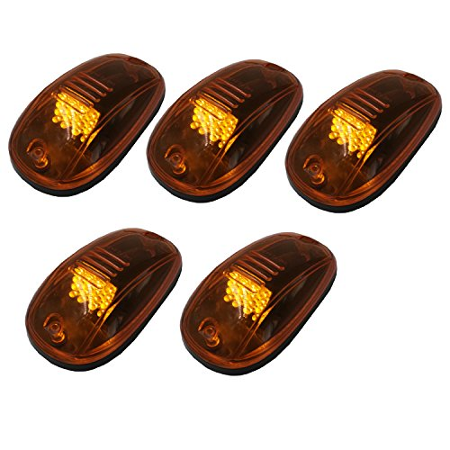 (5pcs Amber Covers 16 Amber LEDs Cab Roof Marker Lights Lamp Clearance Runnging Light Front/Rear Holes For Ford 1999-2016(Amber Lens))
