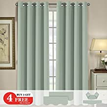 H.VERSAILTEX (Set of 6) Blackout Curtains Panels Set for Living Room - Noise Reducing Thermal Insulated Ring Top Blackout Window Drapes (2 Panels of 52 x 96 Inch, 2 Valances,2 Tie Backs, Solid Sage)