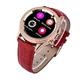 GBD Crystal Diamond Smart Watch for Men Women Lady Round IPS Display Screen Smartwatch for Andriod Samsung Apple Iphone 6 s Plus Bluetooth4.0 Camera IP67 Waterproof HeartRate UVA Beauty(Red)