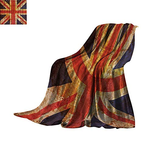Custom homelife Cozy Flannel Blanket England,Britain British Flag Patriot English Queen Grunge Made by Digital Printer Modern,Navy Orange Red White Lightweight Thermal Blankets Bed or Couch - Thermal L90 Printer