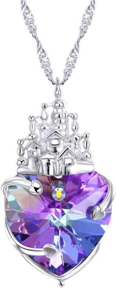XINGYU 925 Joyas de Plata esterlinas con Collar para Mujer Colgante de corazón Morado Cristal De Swarovski con Circonita Diamantes Dia de San Valentin para Hija Mamá Esposa Novia, Silver