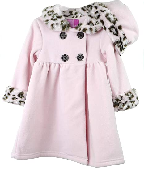 3c7653eb9376 Amazon.com  Good Lad Toddler Pink Animal Trimmed Fleece Coat with ...