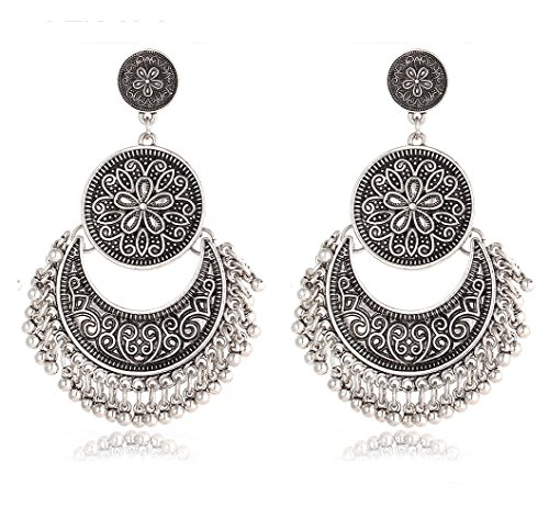 Crunchy Fashion The Tribal Muse Collection Oxidized Silver Trendy Stylish Fancy Party Wear Jewellery Dangle & Drop Earrings for Girls & Women