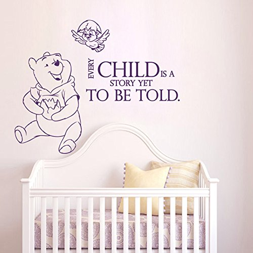 Pooh The Baby Monitor Winnie (Wall Decals Quotes Winnie The Pooh Every Child Is A Story Yet Quote Vinyl Sticker Nursery Room Bedroom Decal Baby Boy Girl Home Decor Art Murals DA3684)
