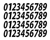 0-9 Numbers Black Vinyl Sticker Decals Set of 40 Choose Size!! 1'' to 12'' (V546BlackItal) (3'')