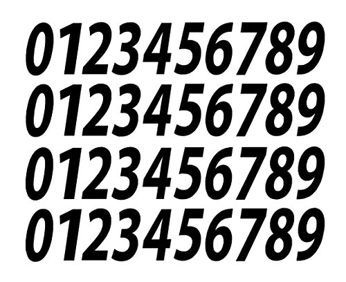 0-9 Numbers Black Vinyl Sticker Decals Set of 40 Choose Size!! 1'' to 12'' (V546BlackItal) (3'') by 0-9