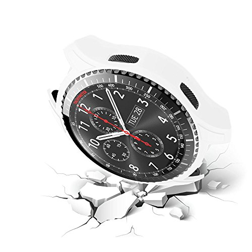 Protective Case Cover for Samsung Gear S3 SM-R760 Shock-Proof Cover Sleeve Watch Cover Slim Designer Sleeve Protector for Samsung Frontier SM-R760 Smartwatch (White)