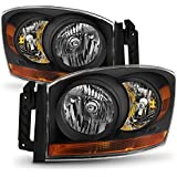 06-08 Ram 1500 06-09 Ram 2500 3500 Pickup Truck Black Headlights Front Lamps Direct Replacement