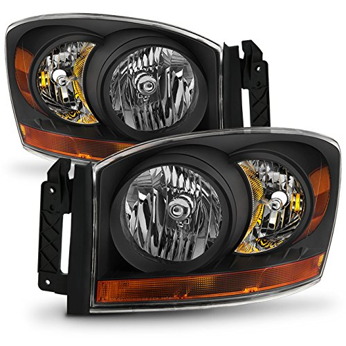 For 06-08 Ram 1500 06-09 Ram 2500 3500 Pickup Truck Black Headlights Front Lamps Direct Replacement