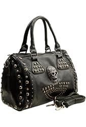 MG Collection Howea Gothic Studded Doctor Shoulder Bag