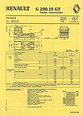 1987 Renault G290.19GT Turbo Truck Brochure French