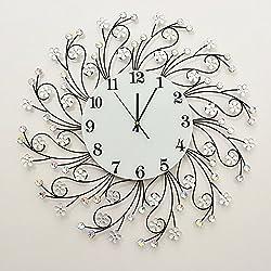 RUGAI-UE The silver crystal diamond wrought iron Clock Iron decoration of modern living room bedroom wall,70×70cm,Imitation crystal 32cm Large Dial Black