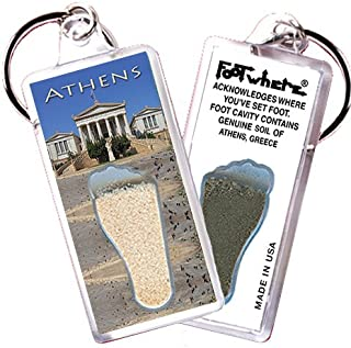 """product image for Athens, Greece """"FootWhere"""" Souvenir Key Chain. Made in USA (ATH104 - Library)"""